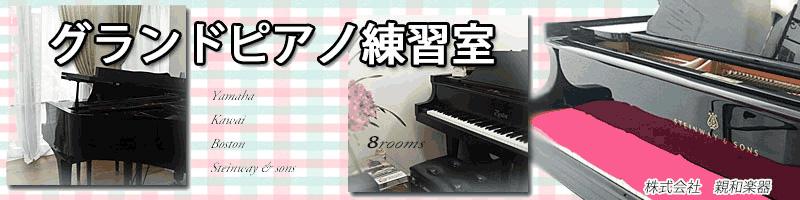 グランドピアノ練習室 8部屋完備 スタインウェイ&サンズもあります。